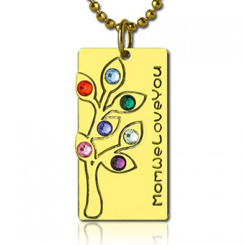 Mothers Birthstone Family Tree Necklace Sterling Silver
