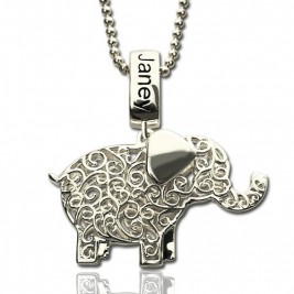 Elephant Charm Necklace with Name  Birthstone Sterling Silver