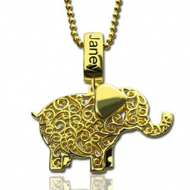 Personalised Elephant Necklace with Name  Birthstone 18ct Gold Plated