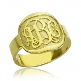 Engraved Designs Monogram Ring 18ct Gold Plated