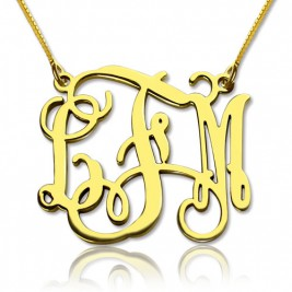 Custom Monogram Necklace 18ct Gold Plated