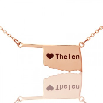 America Oklahoma State USA Map Necklace With Heart  Name Rose Gold