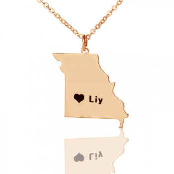 Custom Missouri State Shaped Necklaces With Heart  Name Rose Gold
