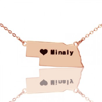 Custom Nebraska State Shaped Necklaces With Heart  Name Rose Gold