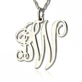 Personalised 2 Initial Monogram Necklace Sterling Silver