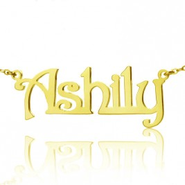 Solid Gold Harrington Font Name Necklace-18ct Gold Plated