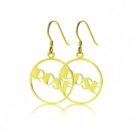 18ct Gold Plated Broadway Font Circle Name Earring