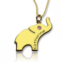 Elephant Lucky Charm Necklace Engraved Name 18ct Gold Plated