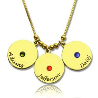 Mother's Disc and Birthstone Charm Necklace 18ct Gold Plated