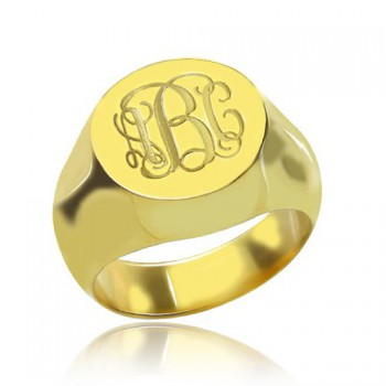 Engraved Circle Monogram Signet Ring 18ct Gold Plated