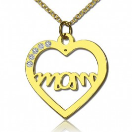 Mothers Heart Necklace With Birthstone 18ct Gold Plated