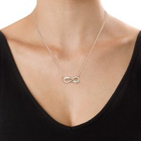 Silver Engraved Swarovski Infinity Necklace