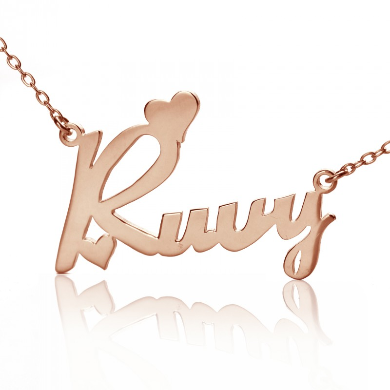 fbfaf0e1c60c1 Personalised 18ct Rose Gold Plated Fiolex Girls Fonts Heart Name Necklace