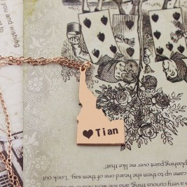 Idaho State USA Map Necklace With Heart  Name Rose Gold