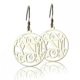 Circle Monogrammed Initial Earrings Sterling Silver