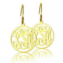 Circle Monogram Initial Earrings In Gold