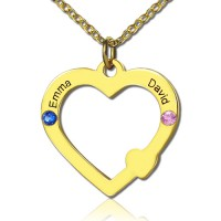 18ct Gold Open Heart Necklace with Double Name  Birthstone