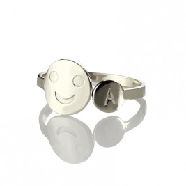 Personalised Smile Ring with Initial Sterling Silver