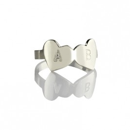 Double Heart Ring Engraved Letter Sterling Silver