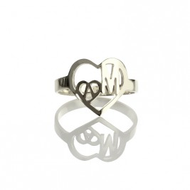 Heart in Heart Double Initials Ring Sterling Silver