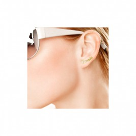 18K Gold Name Stud Earring