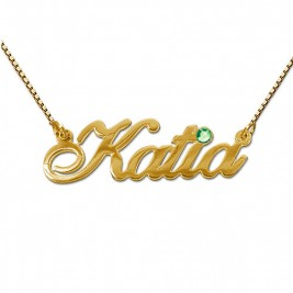 18ct Gold and Swarovski Crystal Name Pendant