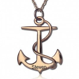 Anchor Necklace Charms Engraved Your Name 18ct Rose Gold Plated Silver