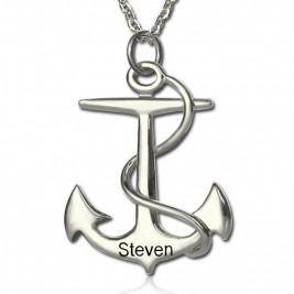 Anchor Necklace Charms Engraved Your Name Silver