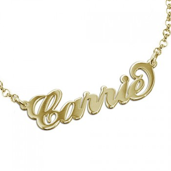 "18ct Gold-Plated Silver ""Carrie"" Name Bracelet/Anklet"