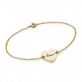 18ct Gold Plated Engraved Couples Heart Bracelet/Anklet