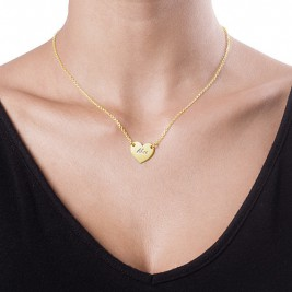 18ct Gold Plated Heart Necklace with Engraving