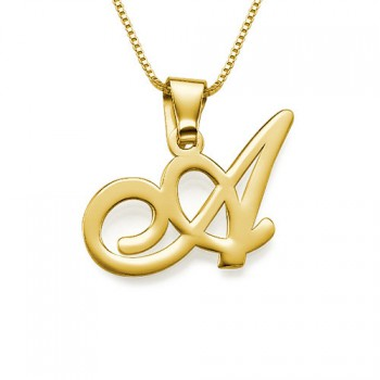 18ct Gold-Plated Initials Pendant With Any Letter