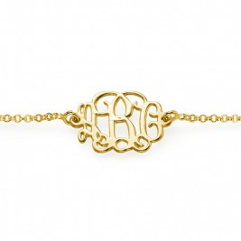 18ct Gold Plated Silver Monogram Bracelet/Anklet