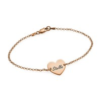 18ct Rose Gold Plated Engraved Heart Couples Bracelet/Anklet