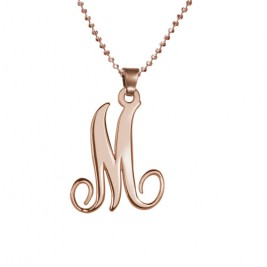 18ct Rose Gold Plated Single Initial Necklace