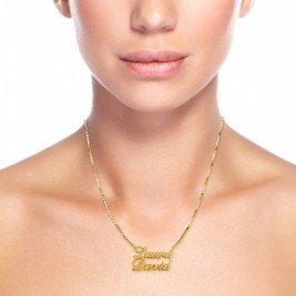 18ct Gold-Plated Silver Two Names Pendant Necklace