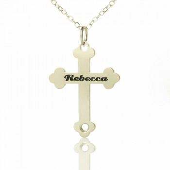 Silver Rebecca Font Cross Name Necklace