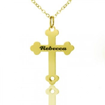 18ct Gold Plated 925 Silver Rebecca Font Cross Name Necklace