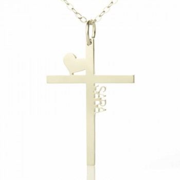 Personalised Silver Cross Name Necklace with Heart