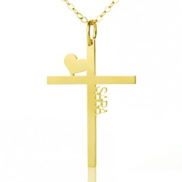 Personalised 18ct Gold Plated Silver Cross Name Necklace with Heart