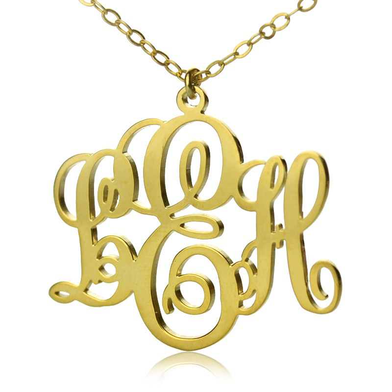 03b4ca6c3fd7a Personalised Vine Font Initial Monogram Necklace 18ct Gold Plated