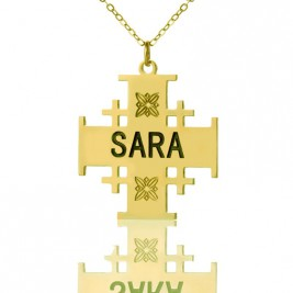 Gold Plated 925 Silver Jerusalem Cross Name Necklace