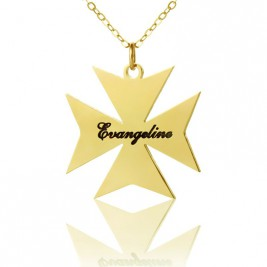 Gold Plated 925 Silver Maltese Cross Name Necklace