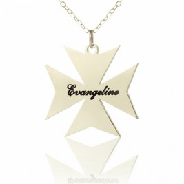 Silver Maltese Cross Name Necklace