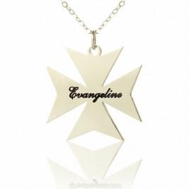 Silver Maltese Cross Name Necklace