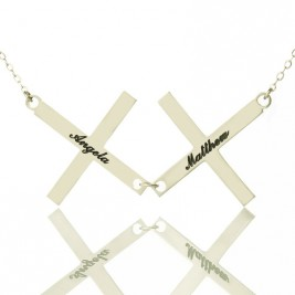 Silver Greece Double Cross Name Necklace