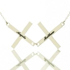 Silver Greece Double Cross Name Necklace