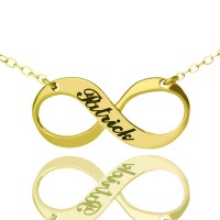 Infinity Symbol Jewellery Necklace Engraved Name 18ct Gold Plated