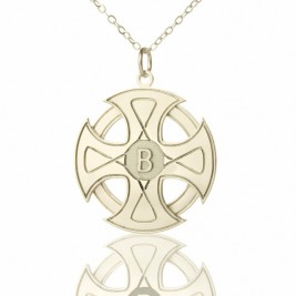 Engraved Celtic Cross Necklace Silver