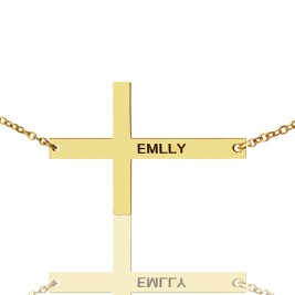 Gold Plated Silver Latin Cross Necklace Engraved Name 1.6""